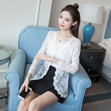 TE8708XBFS Sexy transparent lace sunscreen cardigan