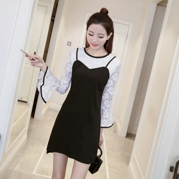 TE8709XBFS Korean fashion slim long sleeve lace tops with gallus dress
