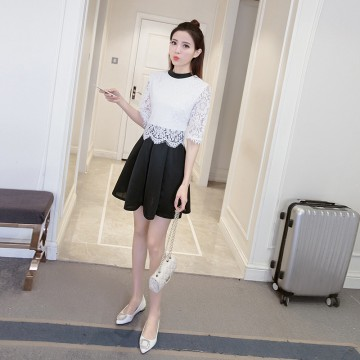 TE8710XBFS New style lace splicing fake two pieces dress