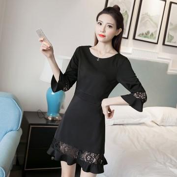 TE8711XBFS Trumpet sleeve fishtail slim waist black dress