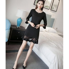 TE8711XBFS Trumpet sleeve fishtail slim waist black dress