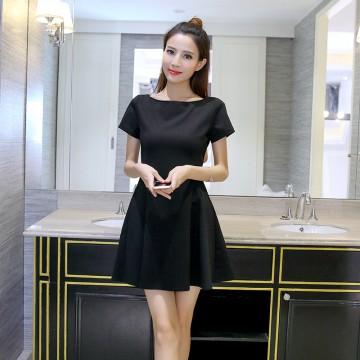TE8716XBFS Summer fashion boat neck elegant Hepburn black dress