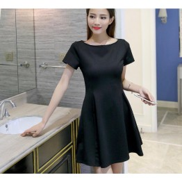 TE8716XBFS Summer fashion boat neck elegant Hepburn black dress