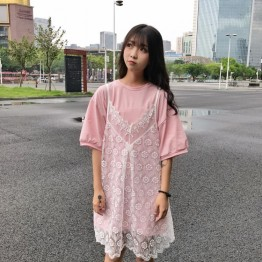 TE9130BGFS Preppy Loose long short sleeve t-shirt with fresh lace gallus dress