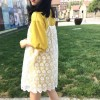 TE9130BGFS Preppy Loose long short sleeve t-shirt with fresh lace gallus dress
