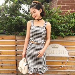 TE9768YSFS Off shoulder checked gallus tops with fishtail skirt