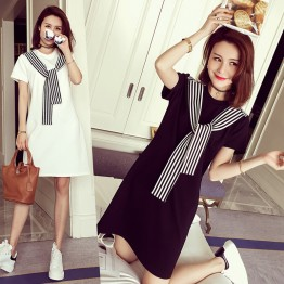 TE101XGM Preppy style stripes scarf long t-shirt dress