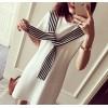 TE101XGM Preppy style stripes scarf long t-shirt dress