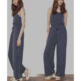 TE1594GJWL Casual fashion slim waist suspender wide leg jumpsuit