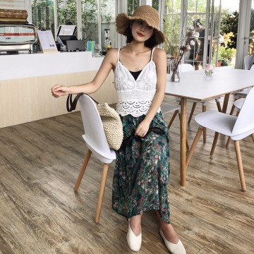 TE1721YJWL Lace splicing long skirt with lace backless vest and tube top
