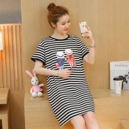 TE1771JXMM Summer stripes cartoon print maternity t-shirt dress
