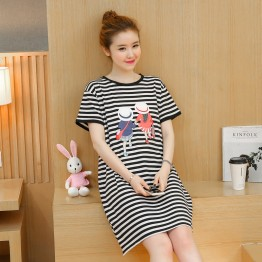 TE1771JXMM Summer stripes cartoon print maternity t-shirt dress
