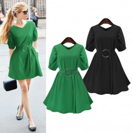 TE218WTY Summer new style pus size pure color slim waist dress