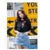 TE3112YZS Korean fashion rose decoration short sleeve t-shirt