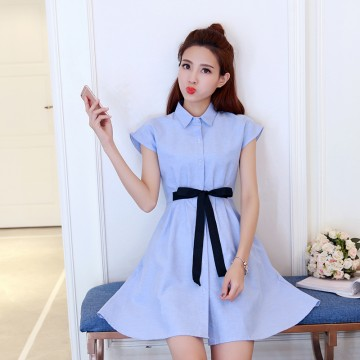 TE5026XBFS Fresh bowknot slim waist A-line dress