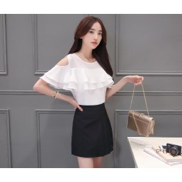 TE5028XBFS Summer pure color off shoulder flouncing chiffon tops with skirt