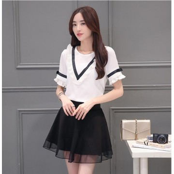TE5029XBFS Summer fashion agaric edge short sleeve chiffon tops with skirt