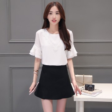 TE5030XBFS Korean fashion round neck flouncing trumpet sleeve tops with tight hip skirt