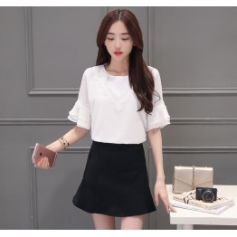 TE5030XBFS Korean fashion round neck flouncing trumpet sleeve tops with tight hip skirt