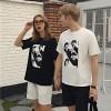 TE531XGM Harajuku style face print short sleeve couples t-shirt