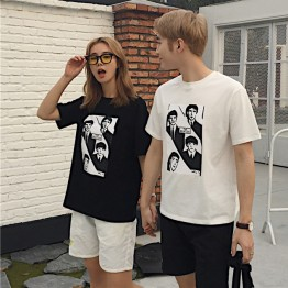 TE531XGM Harajuku style face print short sleeve couples t-shirt
