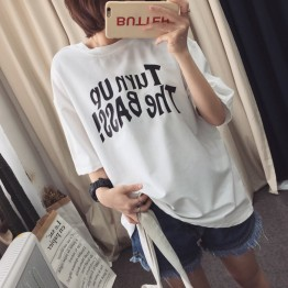 TE5510XGM Student personality letters print trendy round neck t-shirt