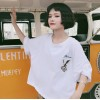 TE6305GZF Loose eagle embroidery hollow out back t-shirt
