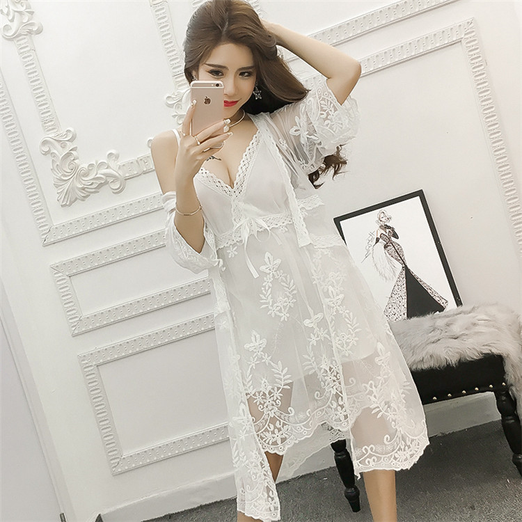 2ec14f5c423c TE7187FYPP Sexy gallus Lingerie lace two pieces night-gown