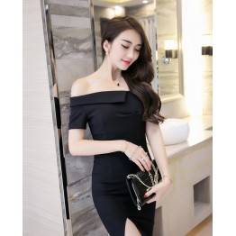 TE9243WMSS Black empire waist boat neck off shoulder sexy slit front tight hip dress