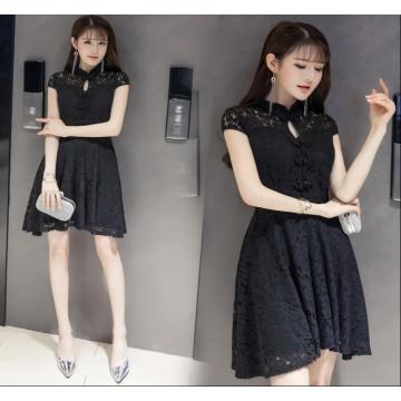 TE9507WMSS Korean fashion slim temperament lace cheongsam dress