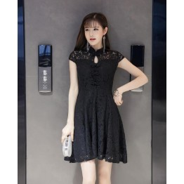 TE9507WMSS Korean fashion slim temperament lace cheongsam dress