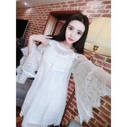 TE0358YJR Off shoulder trumpet sleeve lace dress