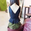TE0366YJR Sexy V neck backless lace contract color flouncing slim sleeveless dress