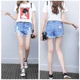 TE2020AYY Summer joker tassel edge slim denim shorts