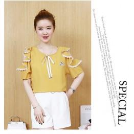 TE5919DSJ Summer loose embroidery chiffon shirt