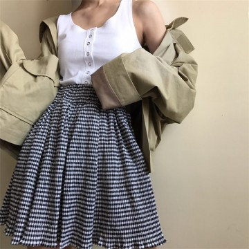 TE6625SEEME Empire waist slim lattice bouffant skirt