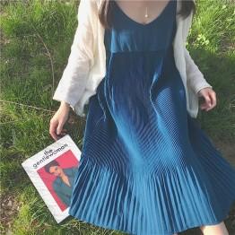 TE6665SEEME Joker pleat suspender long dress