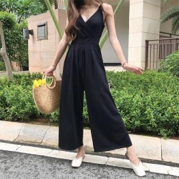 TE9150BSFS Slim v neck suspender drawstring waist knitting wide leg jumpsuit