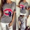 TE3096YZS Red lips pailette print zipper back cotton t-shirt