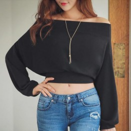 TE6546YZS Joker loose batwing sleeve boat neck off shoulder empire waist short fleece