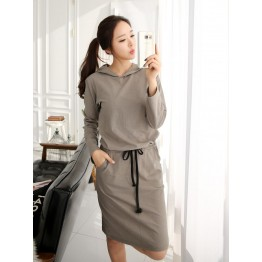 TE6547YZS Drawstring waist long sleeve slit back fleece dress with cap