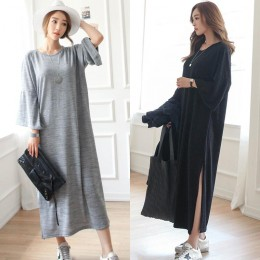 TE6552YZS Large size slit hem loose casual maxi dress