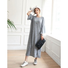 TE6552YZS Large size slit hem loose casual maxi dress