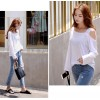 TE6555YZS Candy color one side off shoulder sexy long sleeve t-shirt