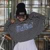 TE6558YZS Korean fashion large size stripes letters print batwing sleeve t-shirt
