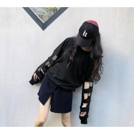TE6559YZS Street fashion holes long sleeve loose t-shirt