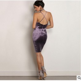 TE810HRCL Euramerica fashion hot sale sexy velvet backless gallus dress