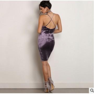 TE810HRCL Euramerica fashion hot sale sexy velvet backless gallus dress
