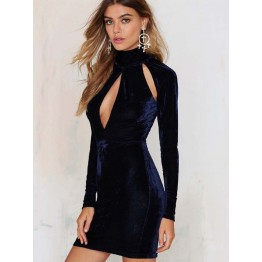 TE8737HRCL Sexy pleuche turtleneck hollow out slim tight hip long sleeve dress
