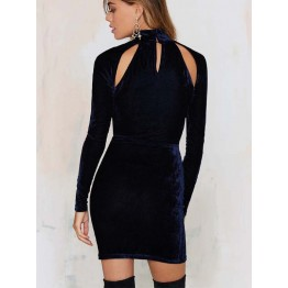 TE8737HRCL Sexy pleuche turtleneck hollow out slim tight hip long sleeve dress
